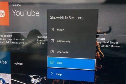 Xbox One Ocultar Dashboard Tabs